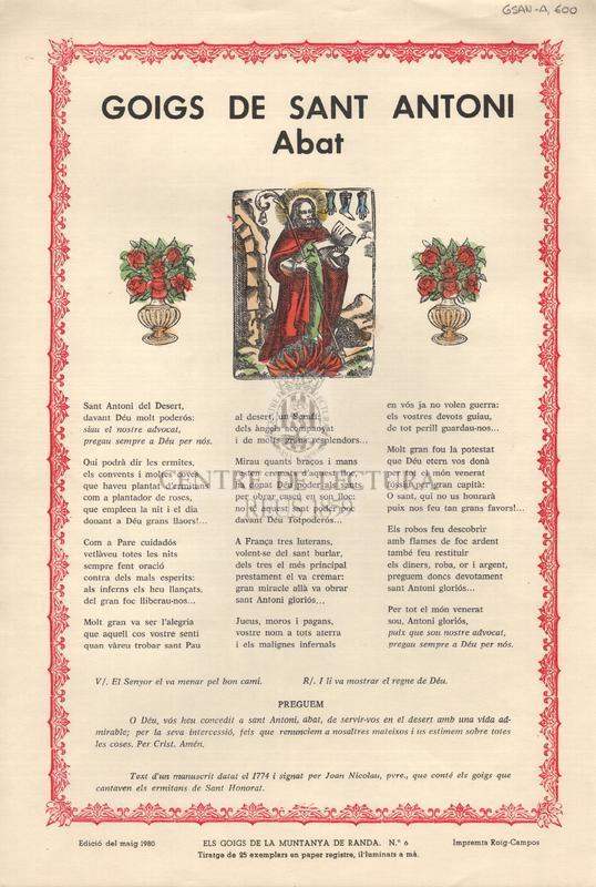 Goigs de Sant Antoni Abat.