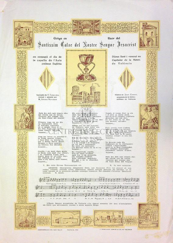 Goigs en llaor del Santíssim calze del Nostre Senyor Jesucrist que es venera en la Metropolitana Església de València