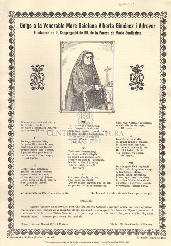 Goigs a la Venerable Mare Gaietana Alberta Giménez i Adrover. Fundadora de la Congregació de RR. de la Puresa de Maria Santíssima