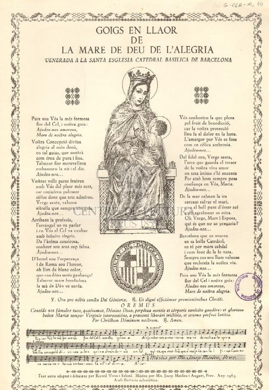 Goigs en llaor de la Mare de Déu de l'Alegria venerada a la Santa Església Catedral Basílica de Barcelona