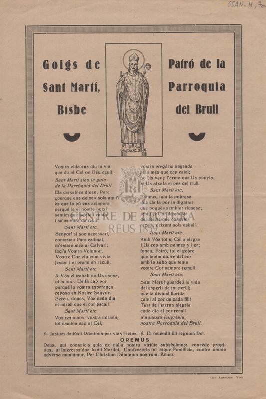 Goigs de Sant Martí, Bisbe. Patró de la parroquia del Brull