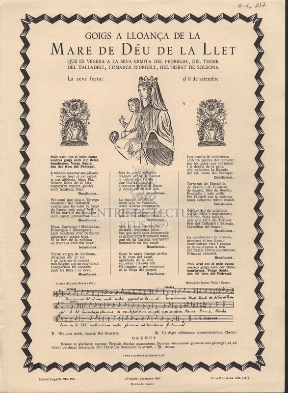 Goigs a lloança de la Mare de Déu de la Llet que es venera a la seva ermita del Pedregal, del terme del Talladell, comarca d'Urgell, del Bisbat de Solsona.