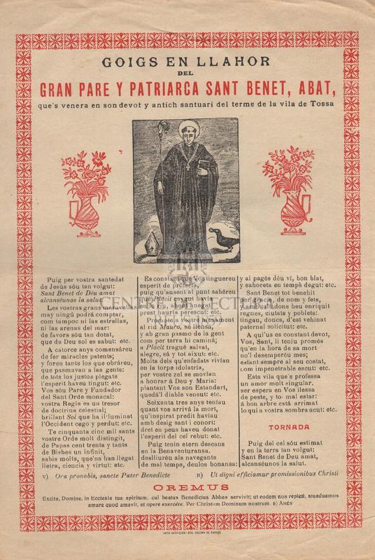 Goigs en llahor del Gran Pare y Patriarca Sant Benet, Abat, que's venera en son devot y antich santuari del terme de la vila de Tossa