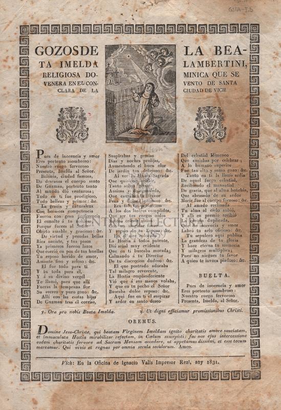 Gozos de la Beata Imelda Lambertini, religiosa dominica que se venera en el convento de Santa Clara de la ciudad de Vich