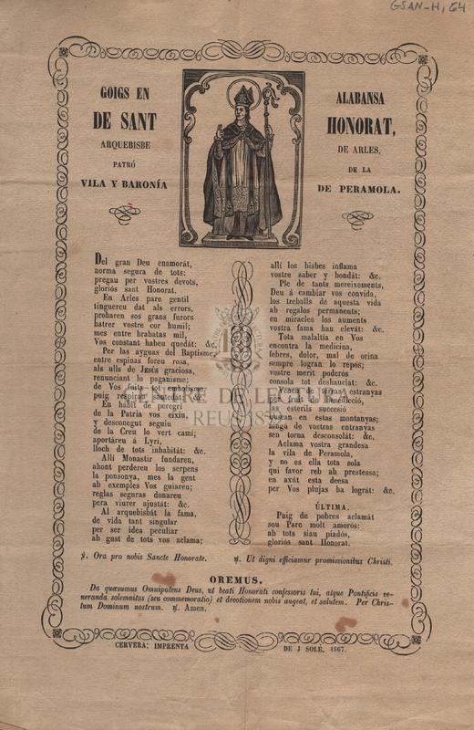Goigs en alabansa de Sant Honorat, Arquebisbe de Arles, patró de la vila y baronía de Peramola