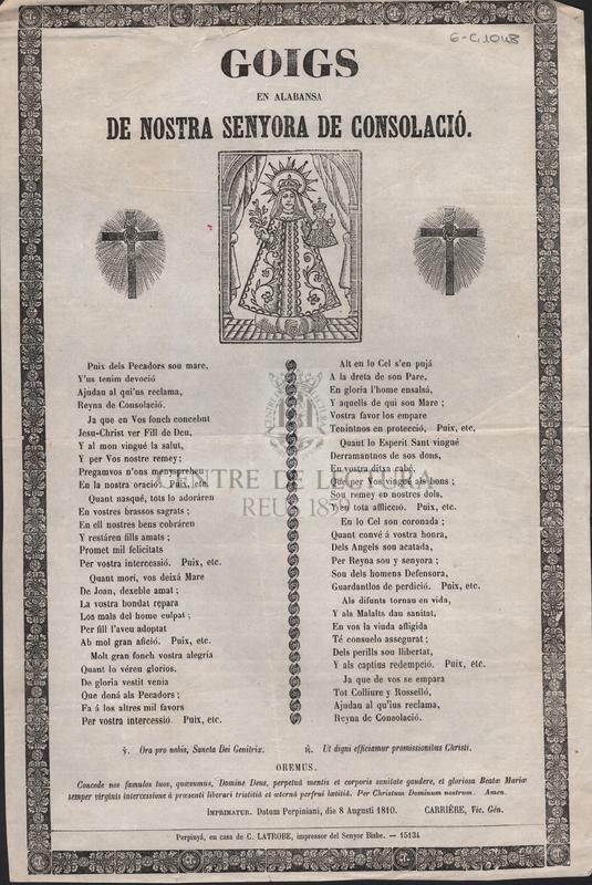 Goigs en alabansa de Nostra Senyora de Consolació