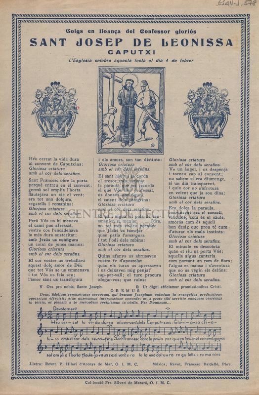 Goigs en lloança del Confessor gloriós Sant Josep de Leonissa, Caputxí. L'Esglesia celebra aquesta festa el dia 4 de febrer