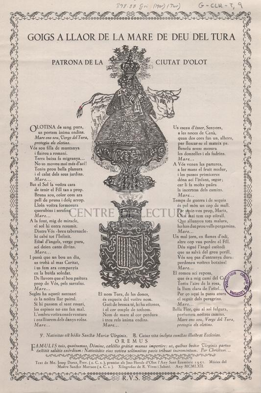 Goigs a llaor de la Mare de Deu del Tura Patrona de la ciutat d'Olot.
