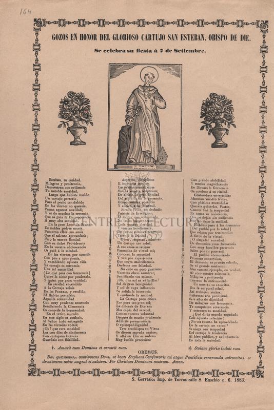 Gozos en honor del glorioso cartujo San Esteban, Obispo de Die. Se celebra su fiesta á 7 de setiembre