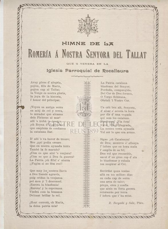 Himne de la Romería á Nostra Senyora del Tallat que's venera en la Iglesia Parroquial de Rocallaura