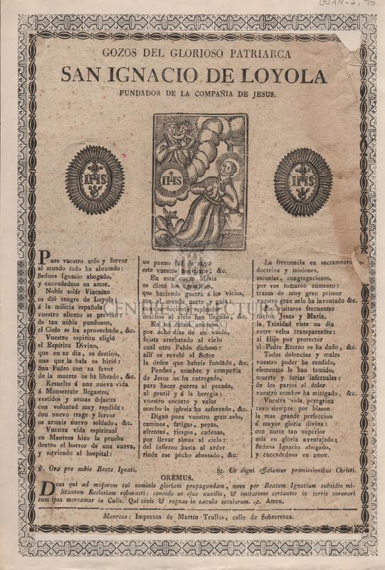 Gozos del glorioso patriarca San Ignacio de Loyola. Fundador de la Companyia de Jesus