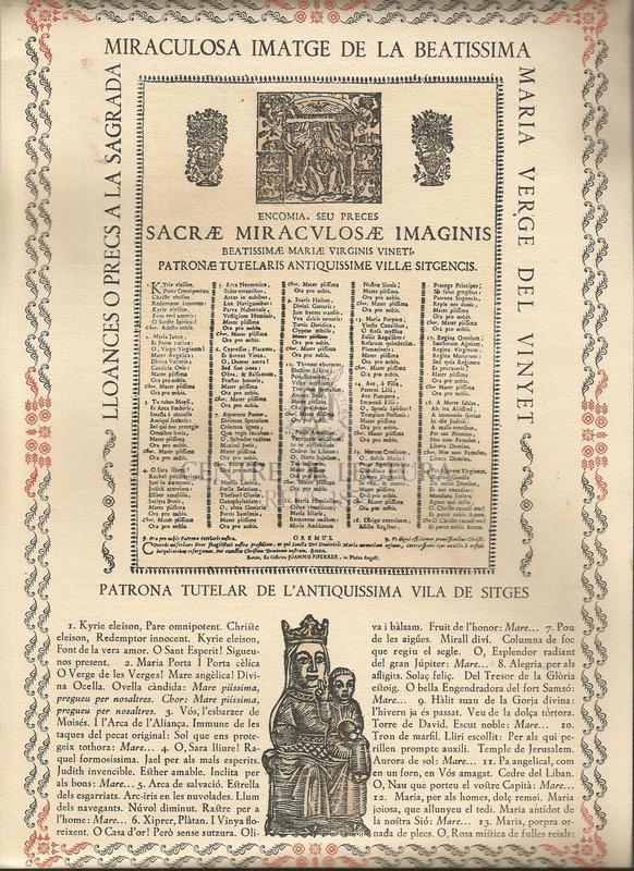 Lloances o precs a la Sagrada miraculosa imatge de la Beatissima Maria Verge del Vinyet. Patrona tutelar de l'antiquissima vila de Sitges