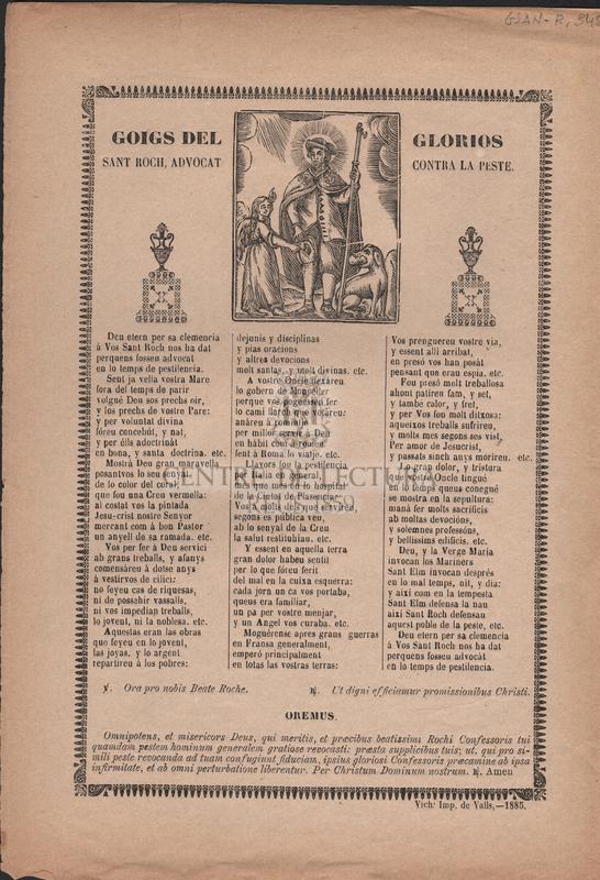 Goigs del glorios Sant Roch, advocat contra la peste