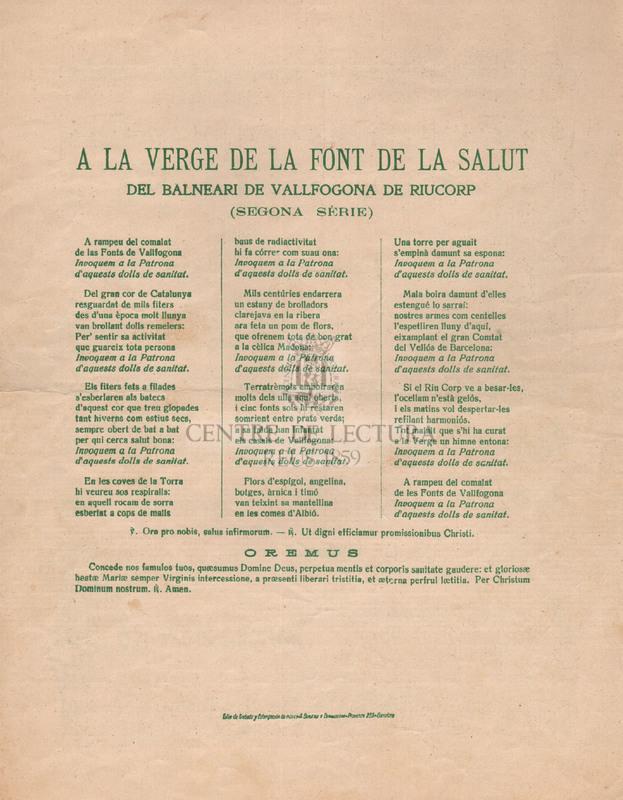 Goigs a la Verge de la Font de la Salut del Balneari de Vallfogona de Riucorp (Segona Sèrie)