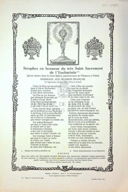 Strophes en honneur du très Saint Sacrement de l'Eucharistie qu'on chante daus les trois Églises paroissiennes de Vilanova y Geltrú
