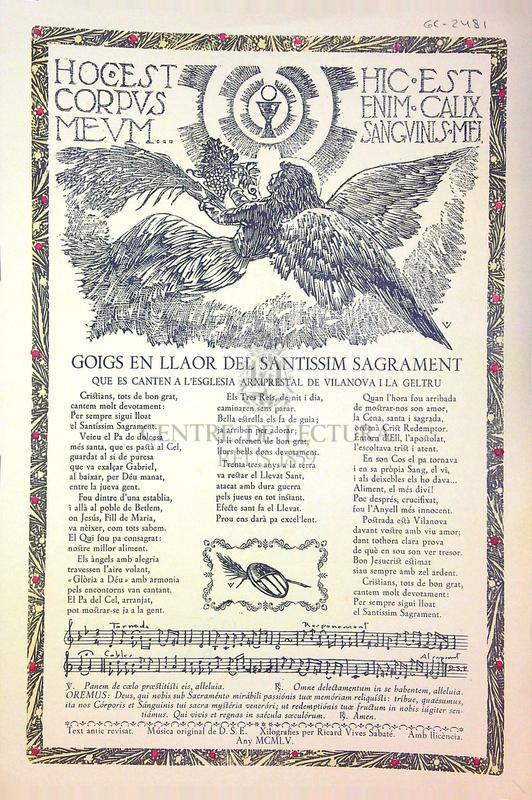 Goigs en llaor del Santissim Sagrament que es canten a l'esglesia de Vilanova i la Geltrú