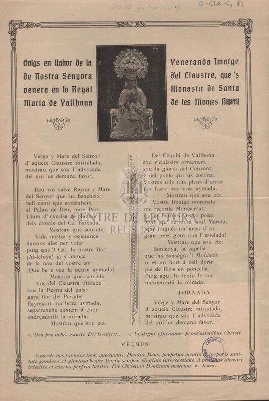Goigs en llahor de la venerada imatge de Nostra Senyora del Claustre, que's venera en lo Reyal Monastir de Santa Maria de Vallbona de les Monjes (Segarra).