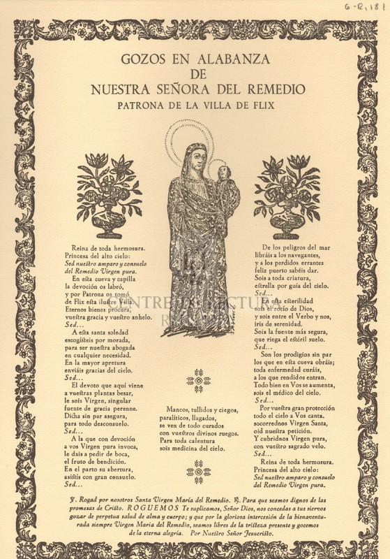 Gozos en alabanza de Nuestra Señora del Remedio Patrona de la villa de Flix