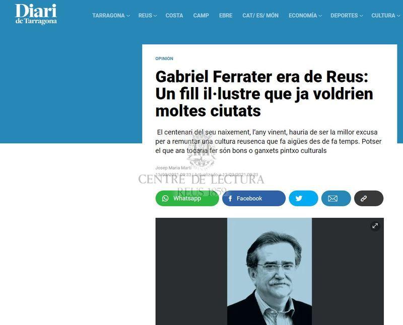 Gabriel Ferrater era de Reus: Un fill il·lustre que ja voldrien moltes ciutats