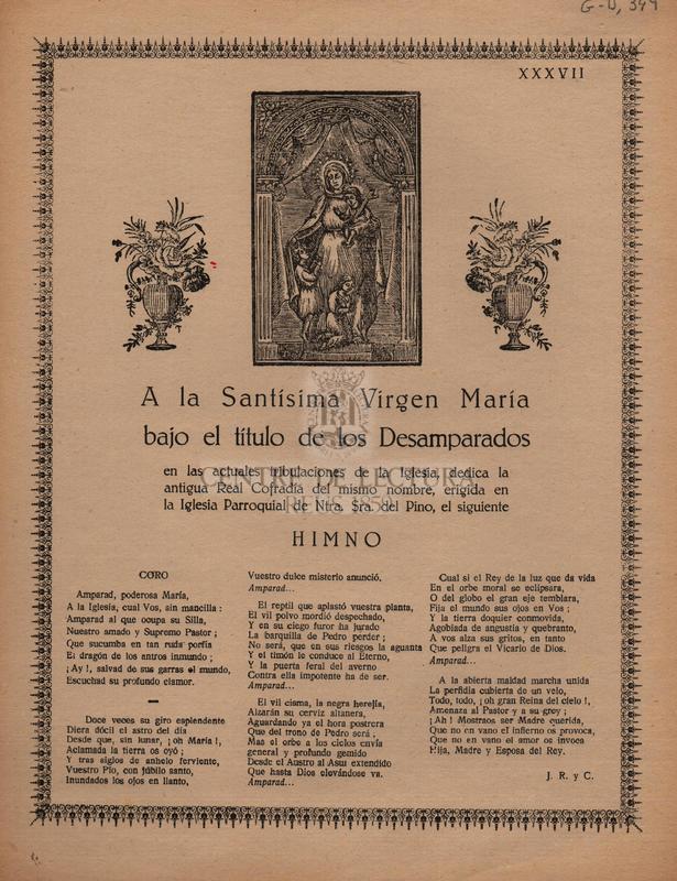 A la Santísima Virgen María bajo el título de los Desemparados.