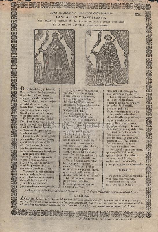 Goigs en alabansa dels gloriosos martirs Sant Abdon y Sant Sennen, los quals se cantan en la iglesia de Sant Maria delstures de la vila de banyolas, bisbat de Gerona. ; Coblas dels deu manaments de la Lley de Deu.