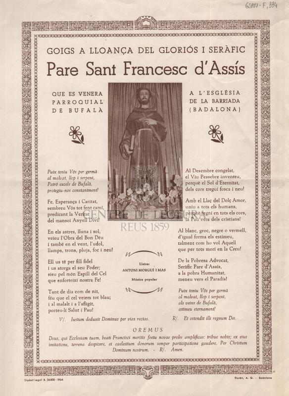 Goigs a lloança del gloriós i seràfic Pare Sant Francesc d'Assís que es venera a l'Església Parroquial de la barriada de Bufalà (Badalona)