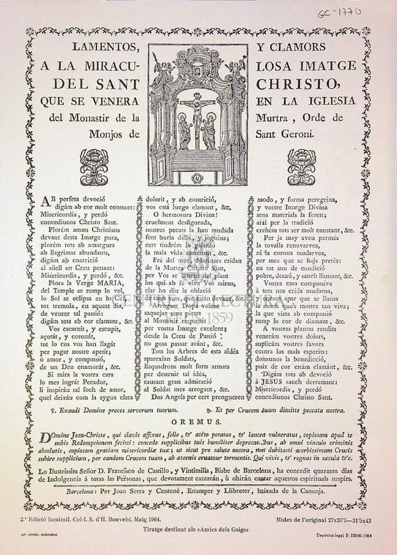 Lamentos, y clamors a la miraculosa imatge del Sant Christo, que se venera en la iglesia del Monastir de la Murtra, Orde de Monjos de Sant Geroni