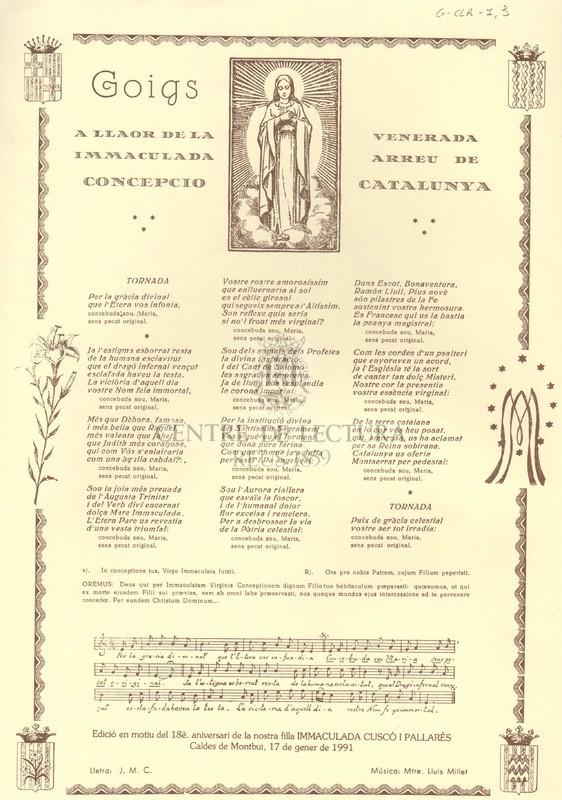 Goigs a llaor de la Immaculada Concepció, venerada arreu de Catalunya