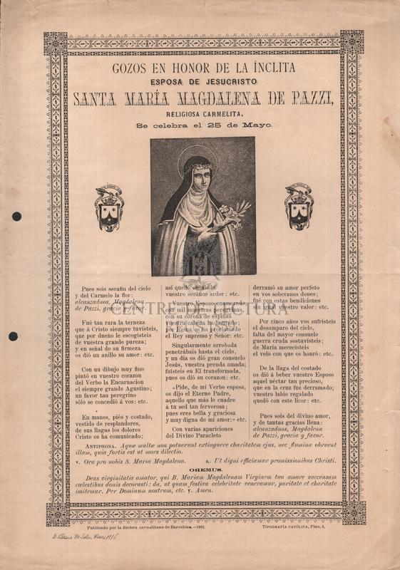 Gozos en honor de la ínclita esposa de Jesucristo santa María Magdalena de Pazzi, religiosa carmelita, Se celebra el 25 de Mayo
