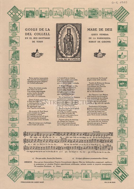 Goigs de la Mare de Deu del Collel que's venera en el seu santuari de la parroquia de Torn - Bisbat de Girona.