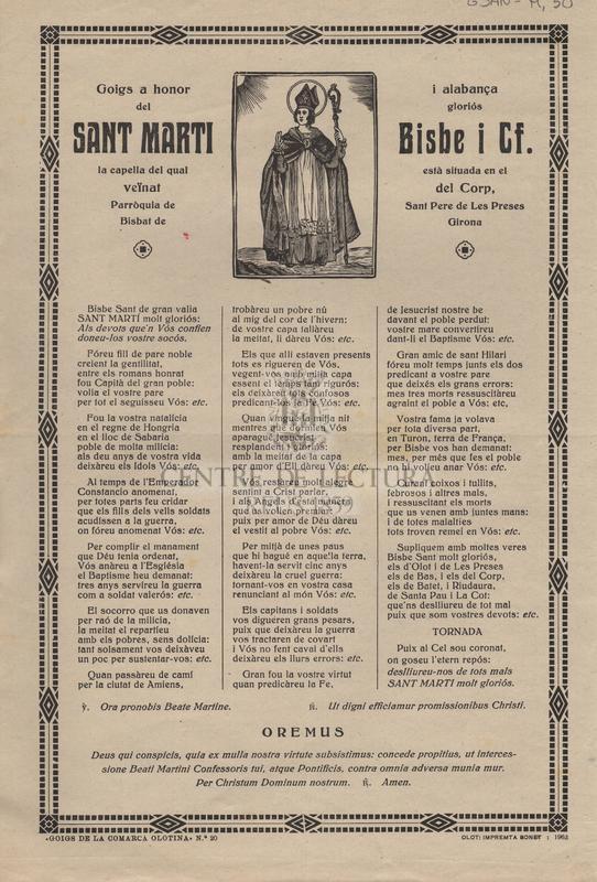 Goigs a honor i alabança del gloriós Sant Marti Bisbe i Cf. la capella del qual està situada en el veïnat del Corp, Parròquia de Sant Pere de Les Preses Bisbat de Girona