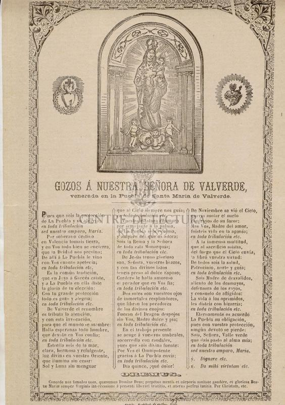 Gozos á Nuestra Señora de Valverde venerada en la Puebla de Santa Maria de Valverde