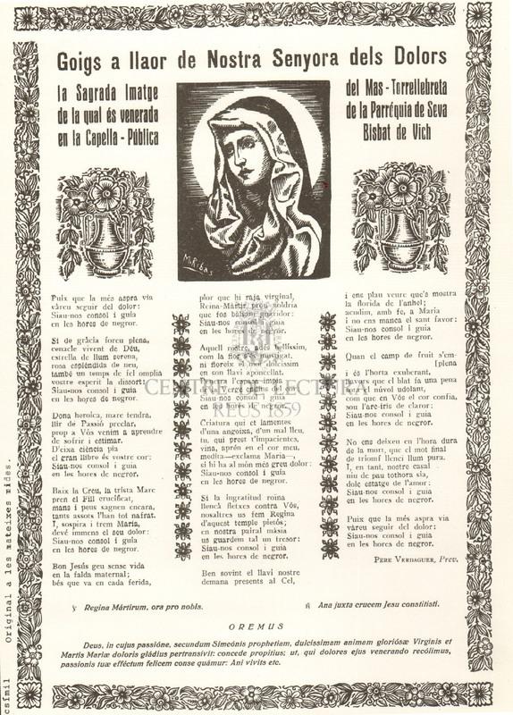 Goigs a llaor de Nostra Senyora dels Dolors la Sagrada Imatge de la qual és venerada en la Capella - Pública del Mas - Torrellebreta de la Parròquia de Seva Bisbat de Vich