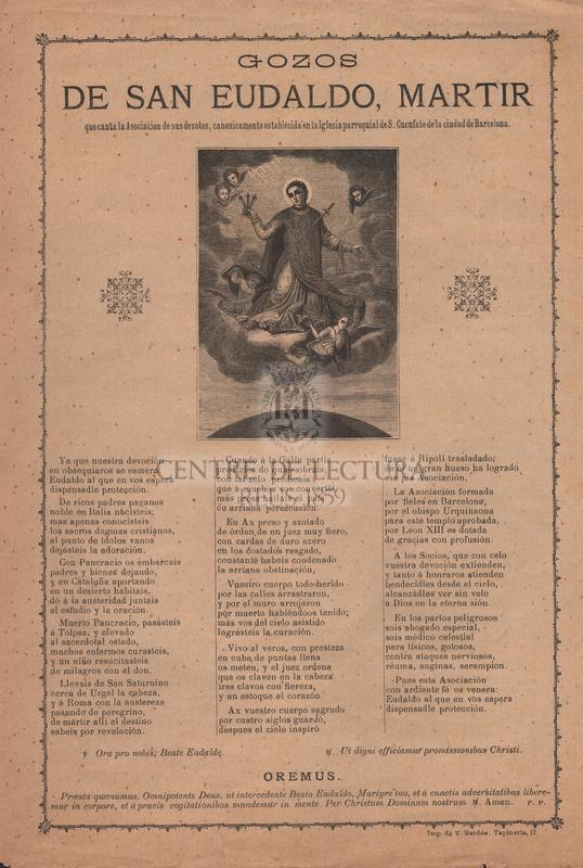 Gozos de San Eudaldo, martir, que canta la Asociacion de sus devotos, canonicamente establecida en la Iglesia parroquial de S. Cucufate de la ciudad de Barcelona