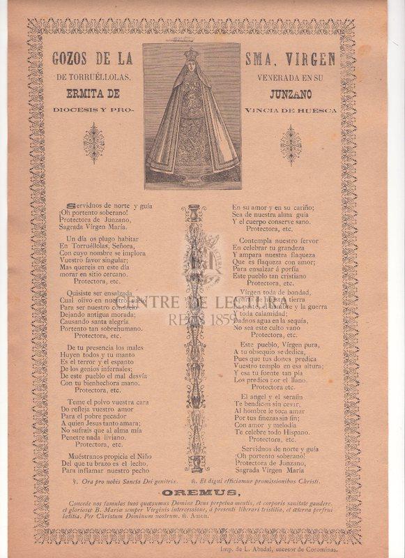 Gozos de la Sma. Virgen de Torruéllolas venerada en su Ermita de Junzano procesis y provincia de Huesca