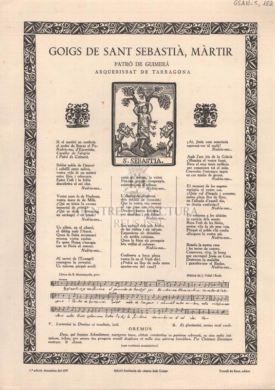 Goigs de Sant Sebastià, Màrtir. Patró de Guimerá. Arquebisbat de Tarragona