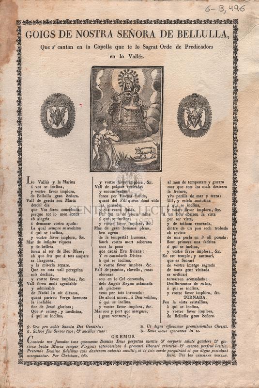 Goigs de Nostra Señora de Bellulla, que's cantan en la Capella que te lo Sagrat Ordre de Predicadors en lo Vallés