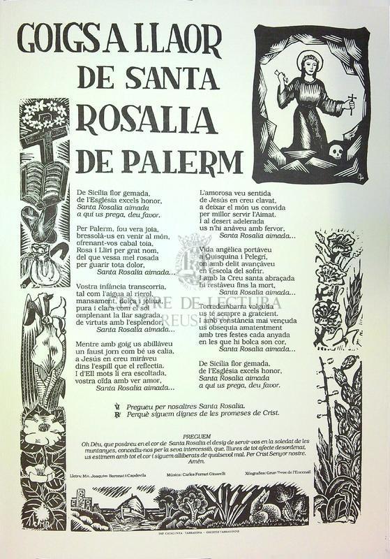 Goigs a llaor de Santa Rosalía de Palerm.