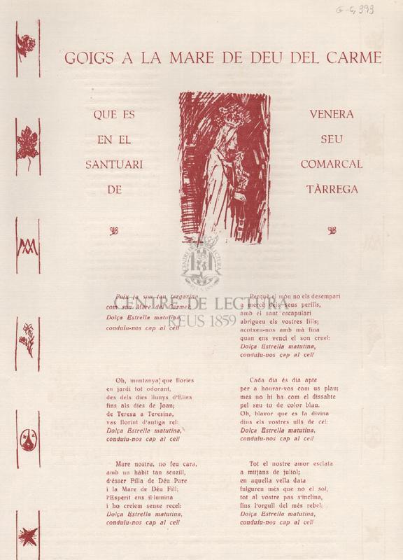 Goigs a la Mare de Déu del Carme que es venera en el seu santuari comarcal de Tàrrega.