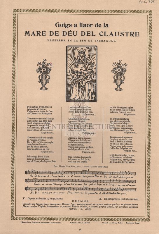Goigs a llaor de la Mare de Déu del Claustre venerada en la Seu de Tarragona.