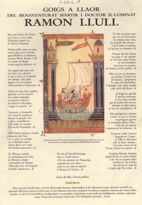 Goigs a llaor del Benaventurat Màrtir i Doctor il·luminat Ramon Llull