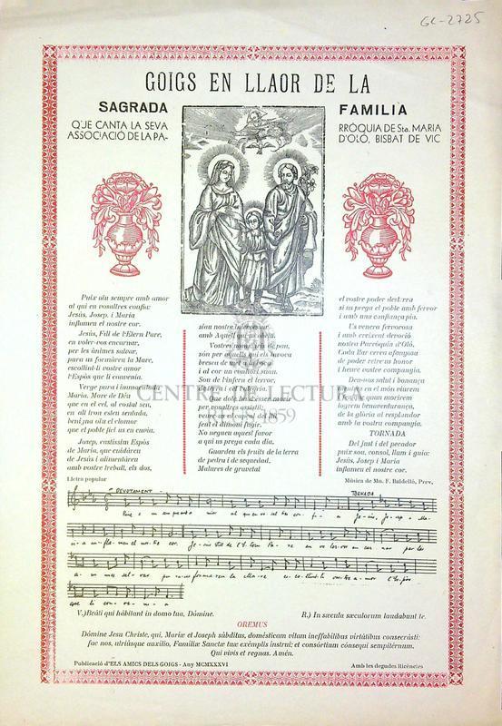 Goigs en llaor de la Sagrada Familia que canta la seva associació de la Parròquia de Sta. Maria d'Oló, Bisbat de Vic