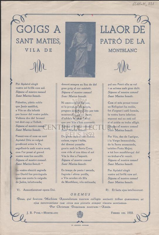 Goigs a llaor de Sant Maties, patró de la Vila de Montblanc