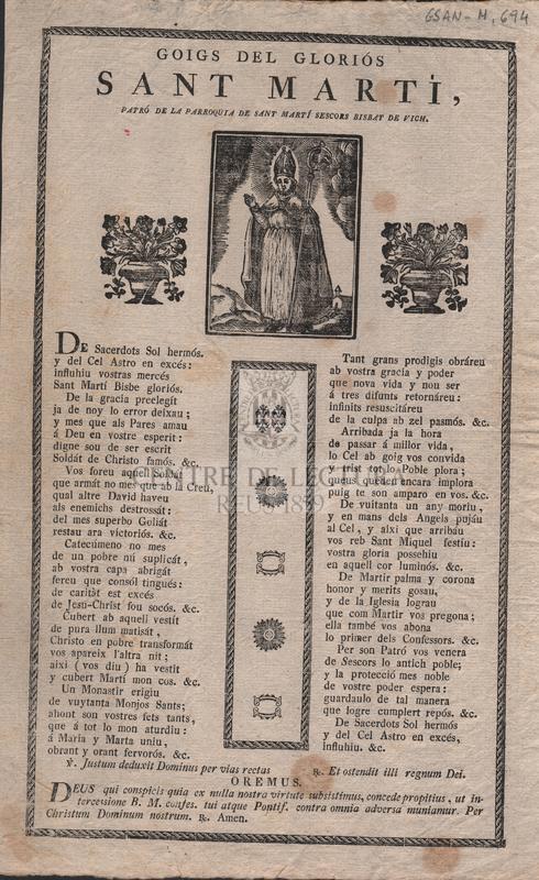 Goigs del gloriós Sant Martí, patró de la parroquia de Sant Martí Sescors Bisbat de Vich