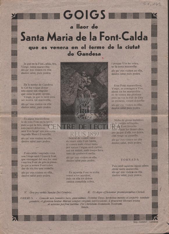 Goigs a llaor de Santa Maria de la Font-Calda que es venera en el terme de la ciutat de Gandesa.