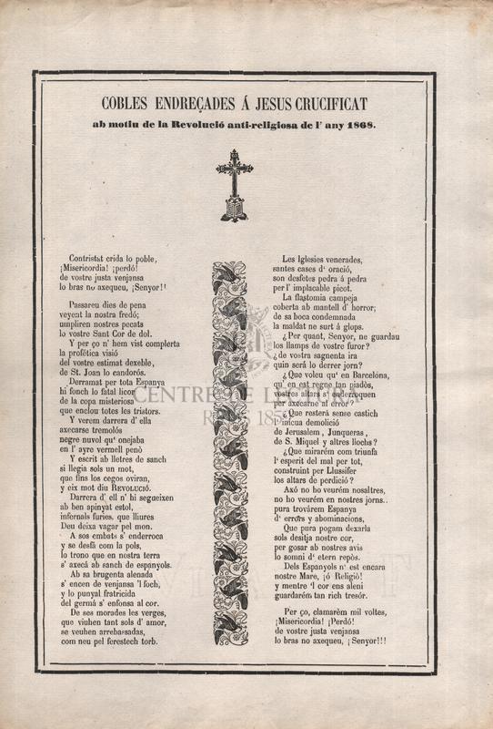 Cobles endreçades á Jesus Crucificat ab motiu de la Revolució anti-religiosa de l'any 1868