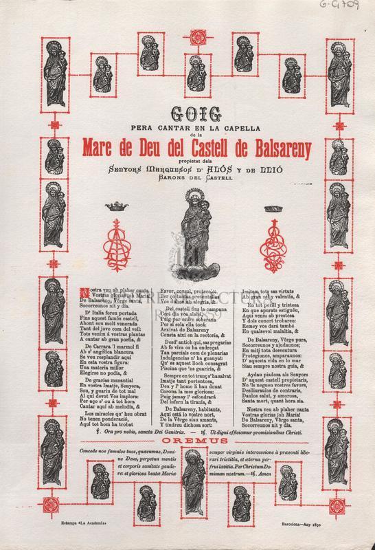 Goig pera cantar en la Capella de la Mare de Deu del Castell de Balsareny propietat dels Senyors Marquesos d'Alós y de Llió, Barons del Castell