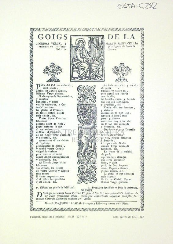 Goigs de la gloriosa Verge, y martir Santa Cecelia venerada en la Parroquial Iglesia de Boadella Bisbat de Girona