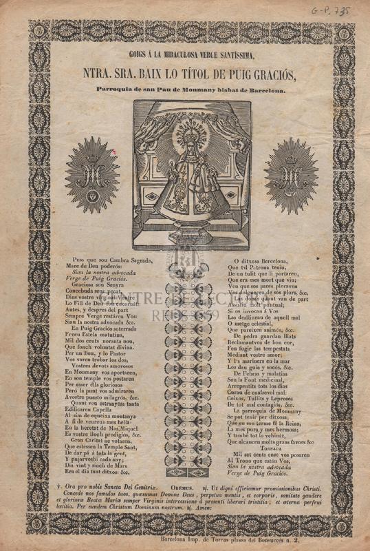 Goigs á la Miraculosa verge Santíssima, Ntra. Sra. baix lo títol de Puig Graciós, Parroquia de san Pau de Monmay bisbat de Barcelona.