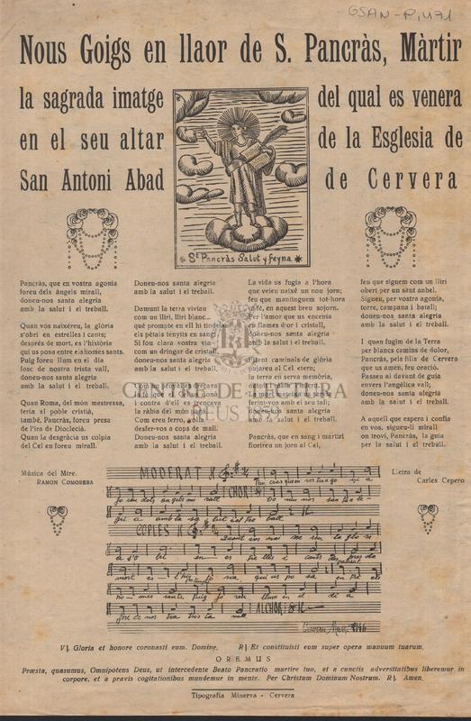 Nous Goigs en llaor de S. Pancràs, Màrtir la sagrada imatge del qual es venera en el seu altar de la Esglesia de Sant Antoni Abad de Cervera